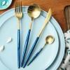 蓝金拉丝刀叉勺 葡萄牙不锈钢餐具 304品质刀叉西餐具