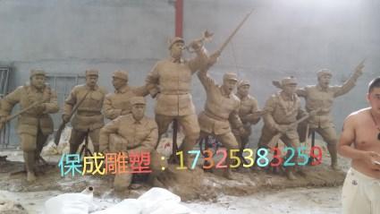 红军八路军抗战人物铸铜模型铜雕摆件大型户外铜雕抗战人物雕塑